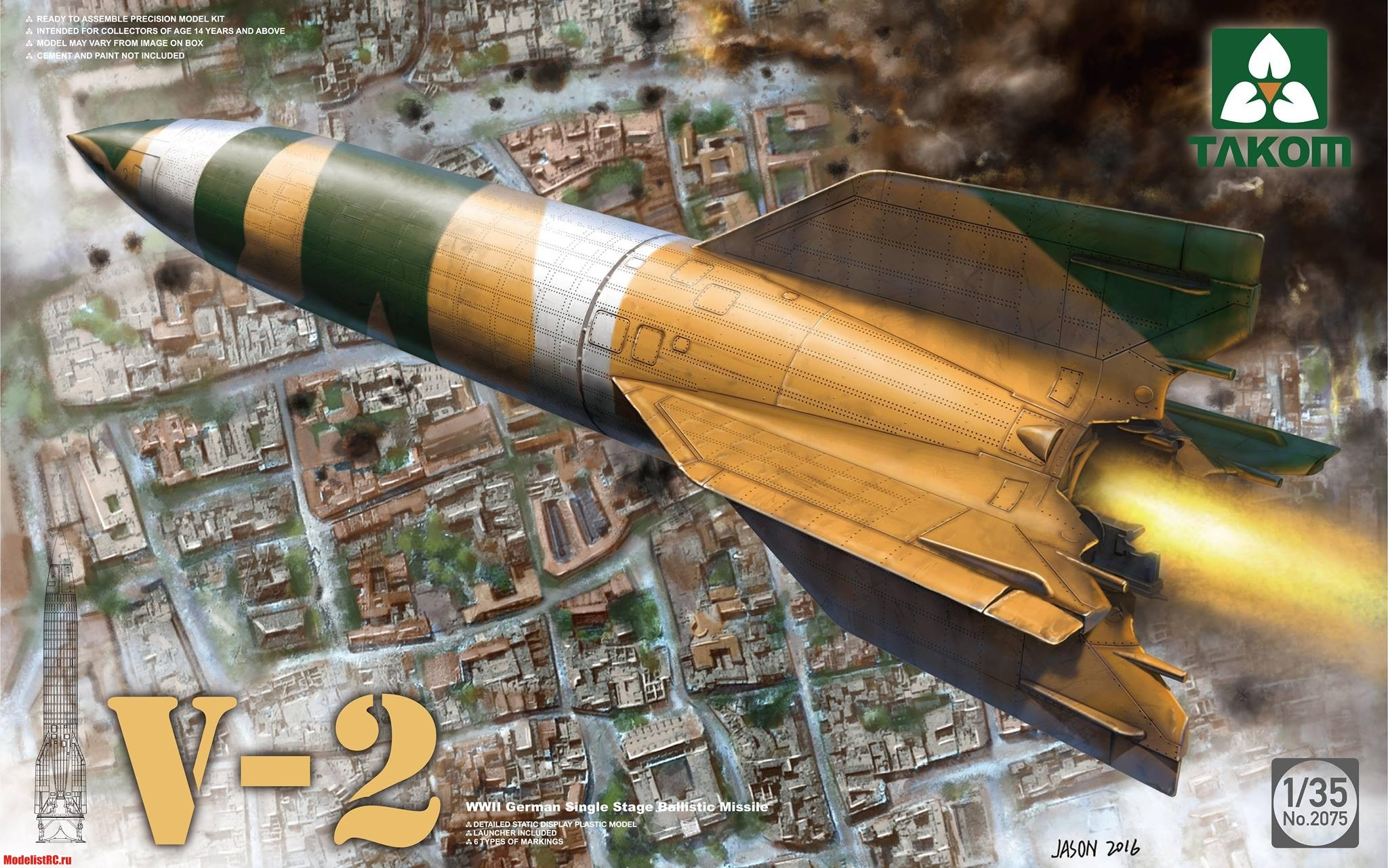 WWII German Single Stage Ballistic Missile V-2 Takom 2075