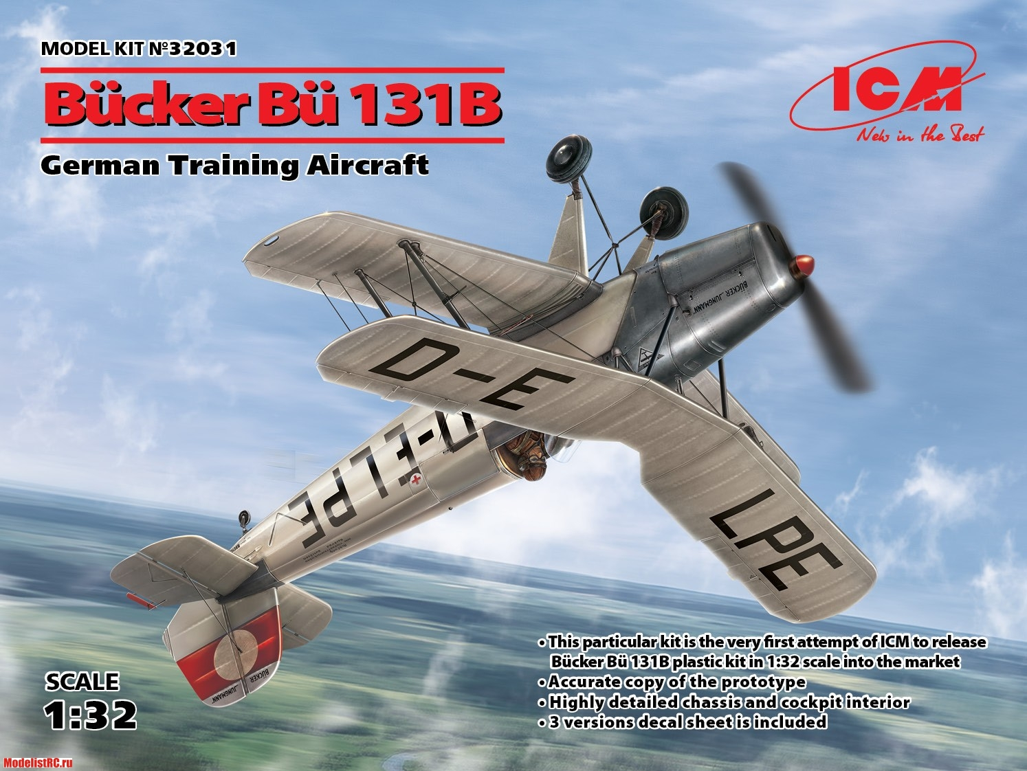 32031 ICM 1/32 Bücker Bü 131B, German Training Aircraft