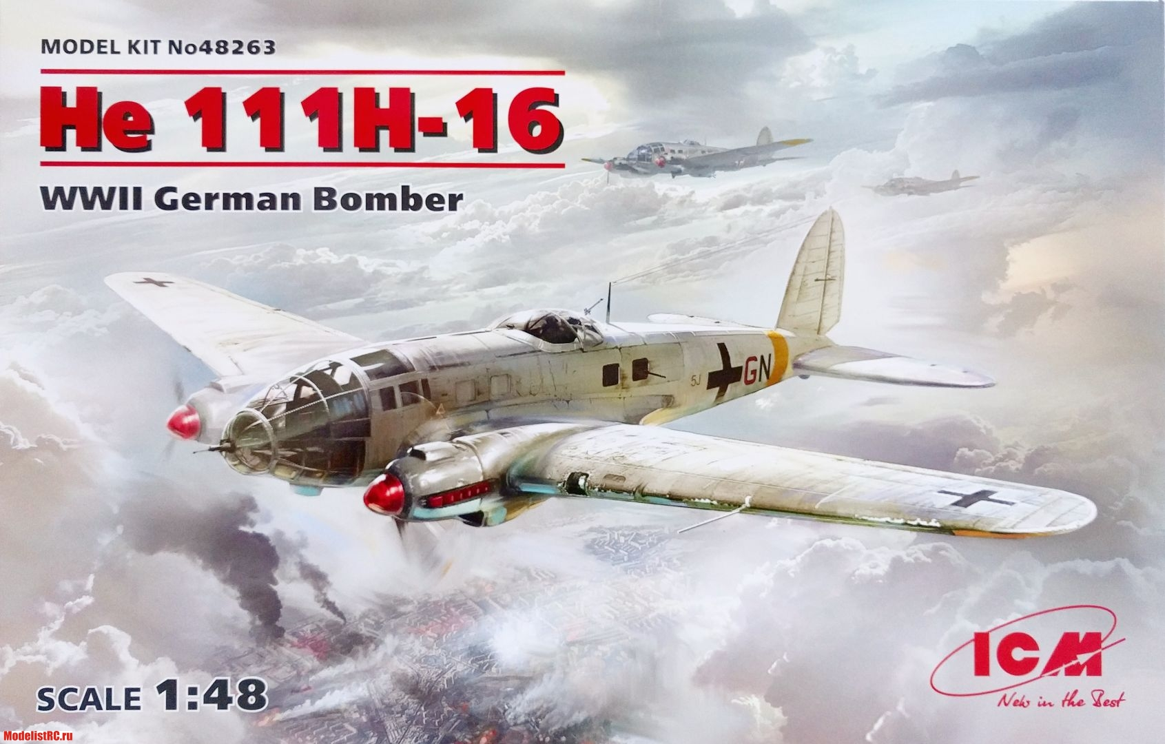 48263 ICM 1/48 He 111H-16, WWII German Bomber