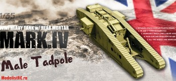 2015 Takom 1/35 WWI Heavy Battle Tank Mk.IV Male Tadpole Workable track & wheels; 2 decal options
