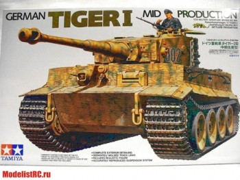 35194 Tamiya 1/35 Тяжелый танк Tiger I Ausf.E mid production 1943г. c 1 фигурой командира