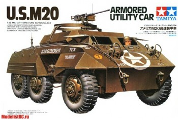 35234 Tamiya 1/35 U.S. M20 Armored Utility Car Американский Бтр с 12.7мм пулеметом. 1943г, с двумя фигурами.