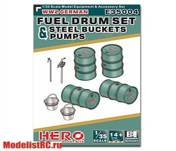 E35004 1/35 WW2 German Fuel Drum Set Pump Pipes & Steel Buckets