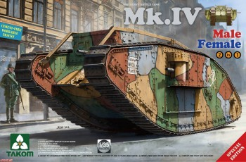 2076 Takom 1/35 WW I Heavy Battle Tank Mk.IV 2 in 1( Special edition with new decal and cement-free workable tracks)