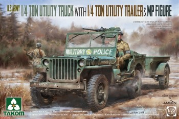 2126 Takom 1/35 U.S. Army 1/4 ton utility truck with 1/4 ton utility trailer & MP figure