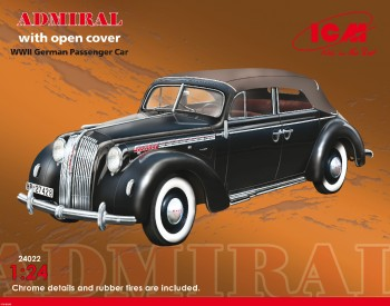 24022 ICM 1/24 Admiral Cabriolet with open cover, WWII German Passenger Car